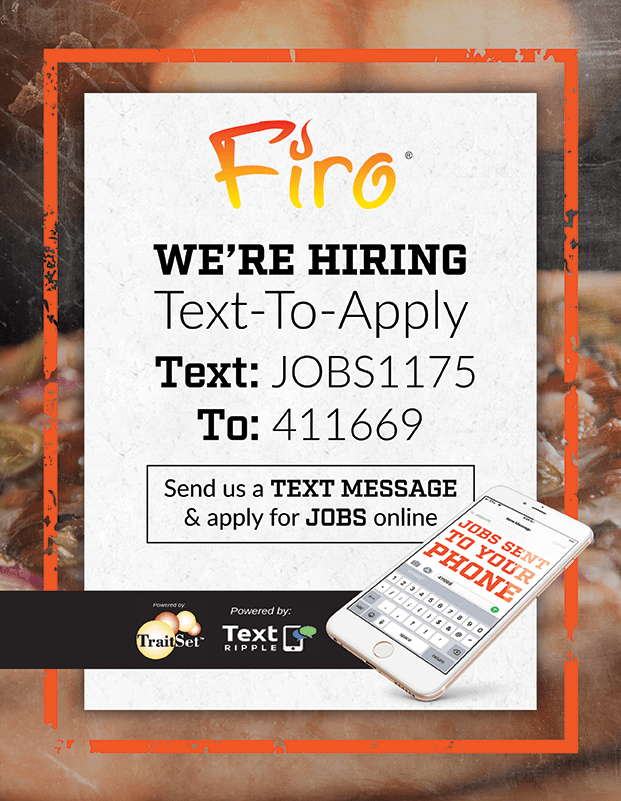 We're Hiring.  Text JOBS1175 to 411689 to apply!