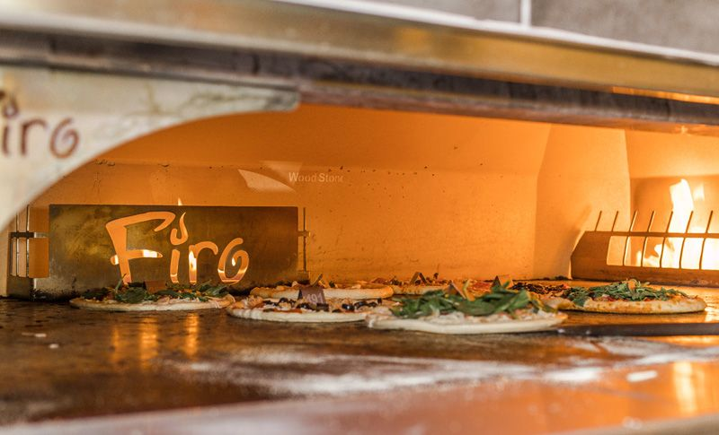 Firo pizzas in the oven