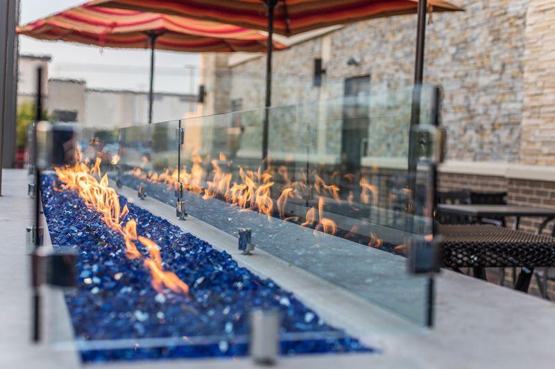 Coals burning in the outdoor patio